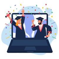 graduação de estudante online vetor