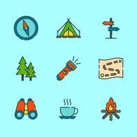 divertido acampar na montanha vetor