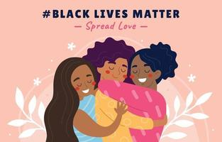 espalhe cartaz de campanha de amor, vida negra importa vetor