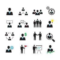 conjunto de ícones de negócios e pessoas vetor