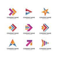 Conjunto de logotipo em forma de seta pontiaguda para empresas vetor