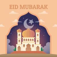 Mesquita majestosa e brilhante onde os muçulmanos oram durante o eid vetor