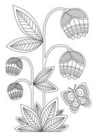 livro para colorir com dois arbustos de bluebell e uma borboleta vetor