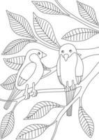 livro de colorir infantil com pássaros nos galhos vetor