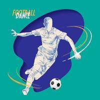 silhueta de esboço de dança futebol futebol vetor