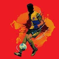 futebol futebol silhueta pintura splash vetor