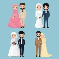 conjunto de personagens muçulmanos fofos, noiva e noivo. Convites de casamento, ilustração vetorial de cartão. Desenho de casal apaixonado vetor