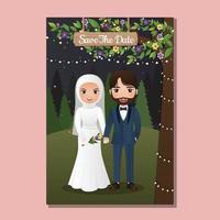 desenho animado de casal muçulmano amoroso feliz abraçando ao ar livre com uma paisagem linda flores florescendo vetor