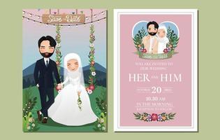 cartão de convite de casamento personagem de desenho animado bonito casal muçulmano de mãos dadas, sentado em um balanço decorado com flores vetor