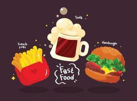 Conjunto saboroso de hambúrguer de fast food desenhado à mão cartoon arte ilustração vetor