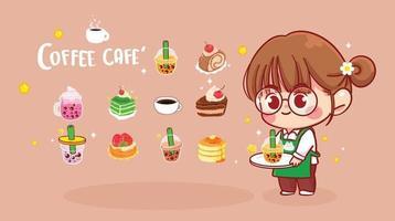linda garota segurando a bandeja e o chá da bolha, ilustração da arte dos desenhos animados para sobremesa vetor