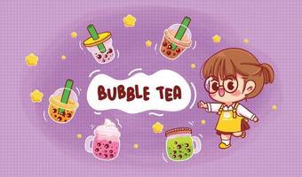ilustração da arte dos desenhos animados de menina bonita e chá com leite com bolhas vetor