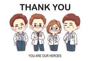 conjunto de desenhos animados de personagens de agradecimento médicos vetor