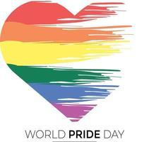 dia do orgulho mundial com coração de bandeira vetor