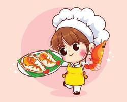 Garota chef fofa sorrindo de uniforme segurando camarões grelhados menu de frutos do mar ilustração da arte dos desenhos animados vetor