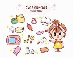 Chef fofo e elementos de cozinha ilustração da arte dos desenhos animados vetor