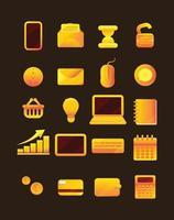 ilustração do conjunto de ícones de ouro de negócios e tecnologia vetor