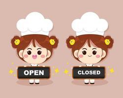 Garota chef fofa sorrindo de uniforme segurando cartazes abertos e fechados ilustração da arte dos desenhos animados vetor