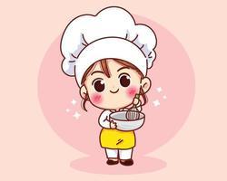 Garota fofa chef de padaria sorrindo com mascotes uniformes desenhos animados vetor
