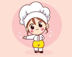 Chef girl sorrindo uniformemente, dando as boas-vindas e convidando seus convidados. vetor