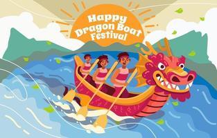 onda festival barco dragão vetor