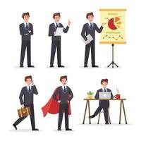 personagem de empresário com diferentes poses vetor