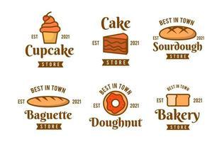 coleção de logotipo de bolo plano vetor