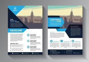 modelo de negócio de panfleto azul vetor