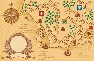 ilustração de mapa antigo vetor