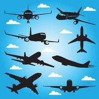modelo de design de vetor de silhuetas de avião