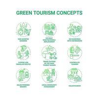 Conjunto de ícones de conceito de turismo verde vetor