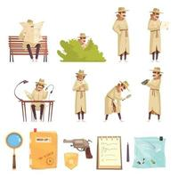 ilustração vetorial coleção de ícones de desenhos animados de detetive particular vetor