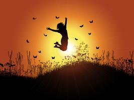 Menina, pular, contra, céu ocaso vetor