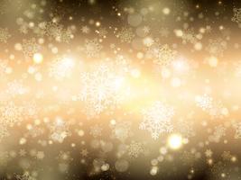 Fundo de floco de neve de ouro vetor