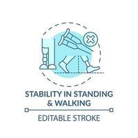 estabilidade no ícone do conceito de ficar em pé e andar vetor