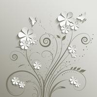 Flores e borboletas vetor