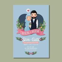 cartão de convite de casamento a noiva e o noivo. Desenho animado romântico jovem casal muçulmano apaixonado vetor