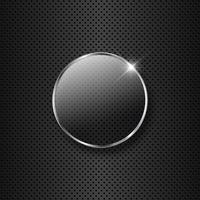 Botão de vidro em um fundo de metal vetor