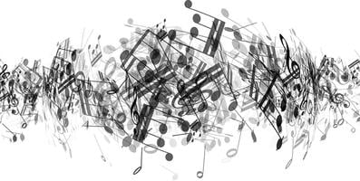 Fundo de notas de música abstrata vetor