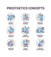 conjunto de ícones de conceito de próteses vetor