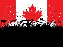 Multidão de festa na bandeira canadense vetor