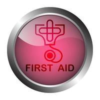 botão ou etiqueta de metal de primeiros socorros vetor