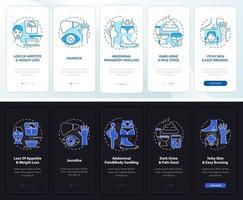 insuficiência hepática indica tela de página de aplicativo móvel com conceitos vetor