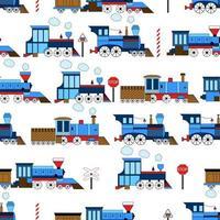 vetor sem costura vintage engraçado trem em um fundo branco. estampa para tecido infantil.