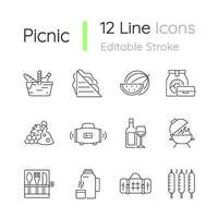 conjunto de ícones lineares de piquenique vetor