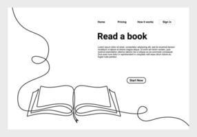 contínuo um livro aberto de desenho de linha com páginas voadoras. ilustração educação fornece o tema da escola para o site da página de destino. reservar um banner de desenho de linha. vetor