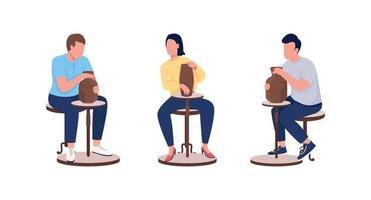 aula de cerâmica para alunos adultos cor plana conjunto de caracteres sem rosto vetor