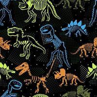 esqueleto de dinossauro. padrão sem emenda do vetor. design original com ossos de dinossauro. fundo preto com pontos. desing para têxteis, roupas. vetor