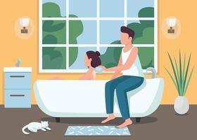 casal tomando banho juntos ilustração vetorial de cor lisa vetor