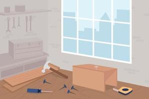 ilustração vetorial de cores planas para oficina de carpintaria vetor